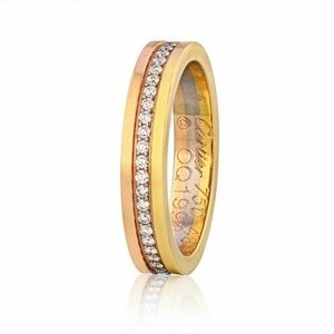 Cartier 18k Gold Tri Color Diamond Eternity Ring